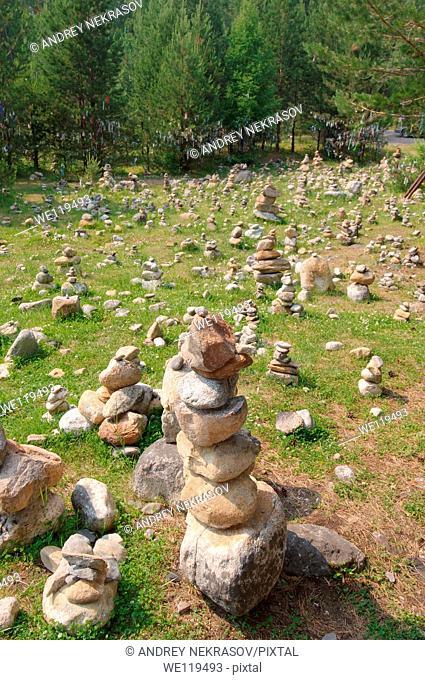 Stones of fulfillment of desires, stone garden  Arshan, Tunkinsky District, Republic of Buryatia, Siberia, Russian Federation