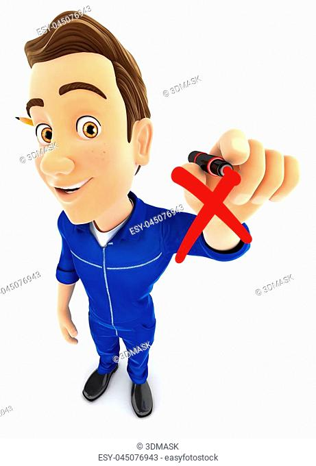 3d mechanic drawing red cross check mark, illustration with isolated white background