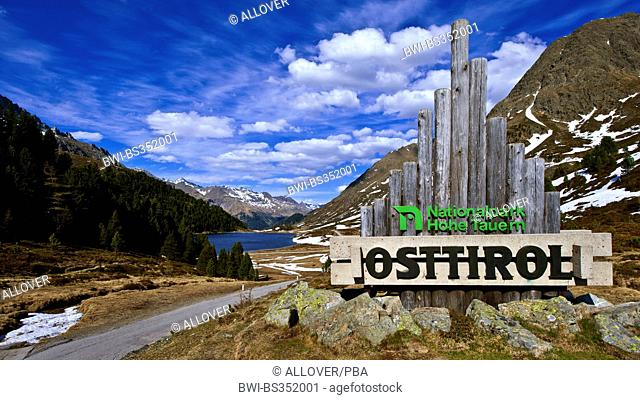 Hohe Tauern National Park, information sign at the entrance, Austria, Tyrol, Hohe Tauern National Park, Defereggen