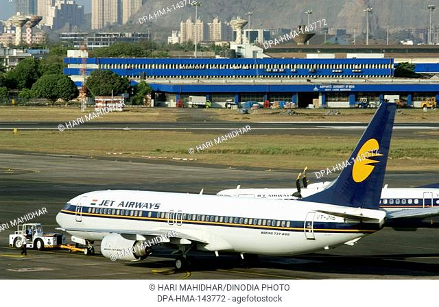 Jet Airways Aircrafts parked at CST airport ; Santacruz ; Bombay now Mumbai ; Maharashtra ; India