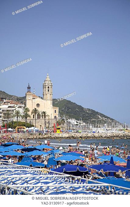 Beaches and Church in Sitges, Spain