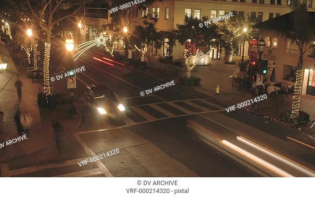 Night time lapse of State Street during the holidays in Santa Barbara, California