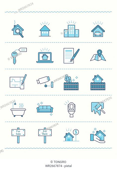 Set of various line icons related to houses