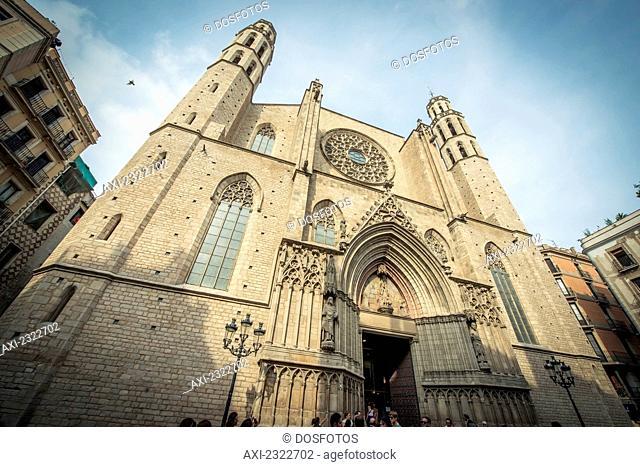 Spain, Exterior Of Santa Maria Del Mar Church; Barcelona