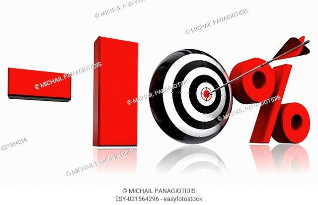 ten per cent red discount symbol