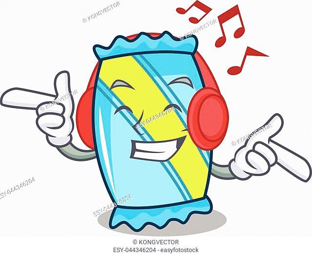 Listening music candy mascot cartoon style vector illustration
