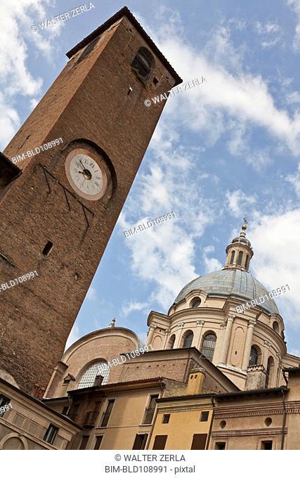 Clock tower over Piazza Sordello
