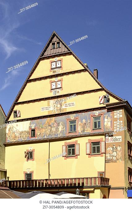 view of paintings on old house facade, shot in bright spring light at Rottweil, Baden Wuttenberg, Germany