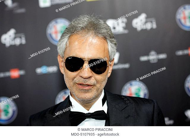 Close-up of the Italian singer Andrea Bocelli on the red carpet of the charity concert Bocelli and Zanetti Night at the Open Air Theater of Expo in Milano