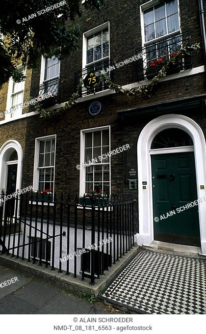 Entrance of a building, Charles Dickens house, London, England