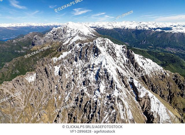 Aerial view of the snowy ridges of Grignetta and Grignone mountains in spring Lecco Province Lombardy Italy Europe