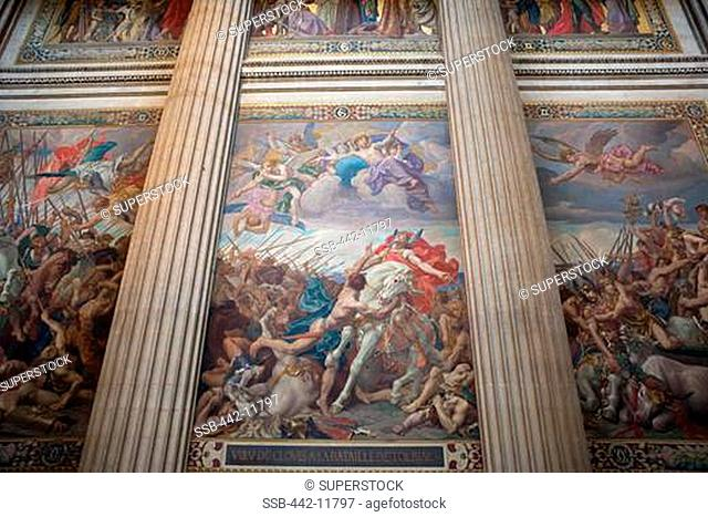 France,Paris,The Pantheon,Wall Mural Depicting the Battle of Tolbiac by Paul-Joseph Blanc