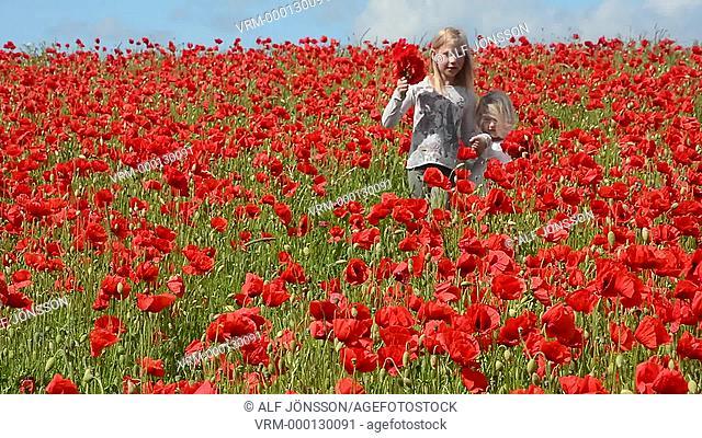 Girls in a poppyfield