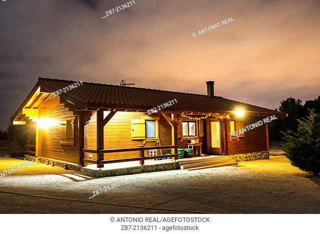 Wooden house, Almansa, Albacete province, Castilla-La Mancha, Spain