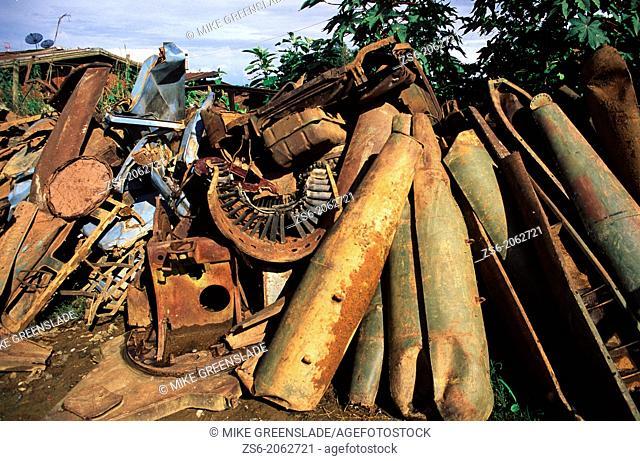 Cluster bomb casings and aircraft parts, Phonsavan, Laos