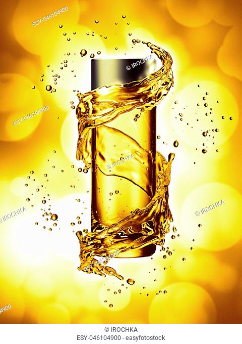Cream bottle mock up in water splash of yellow color. 3D illustration