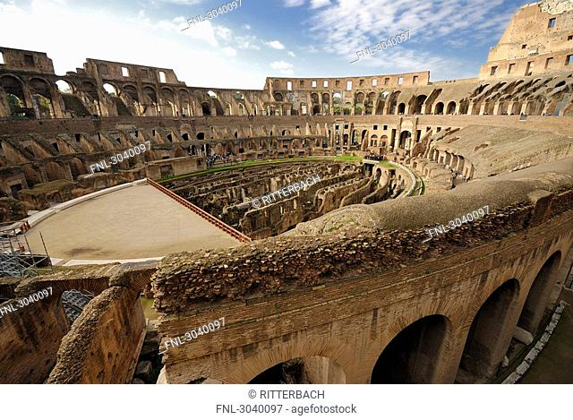 View over the internal space of the Colosseum, Rome, Italy, wide-angle shot