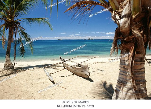 Fishing boat on beach with trees
