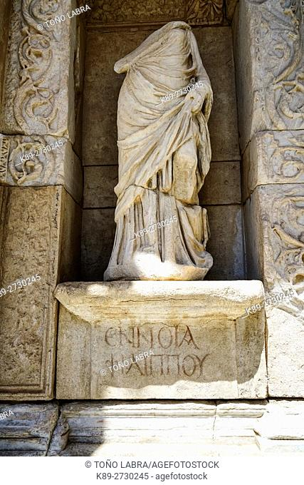 Library of Celsus (117 AD) by Governor Gaius Julius Celsus. Ephesos. Ancient Greece. Asia Minor. Turkey