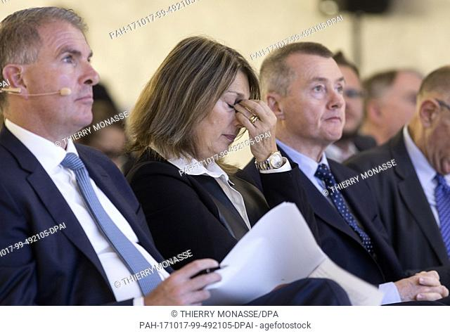 October 17, 2017 - Brussels, Belgium: CEO Lufthansa & Chair A4E Carsten Spohr (L), Chief Executive designate of ITV. Dame Carolyn Julia McCall DBE (C) and the...