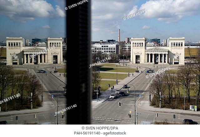 A view of the Koenigsplatz reflected in the windowpanes of the new building of the Documentation Centre for the History of National Socialism in Munich, Germany