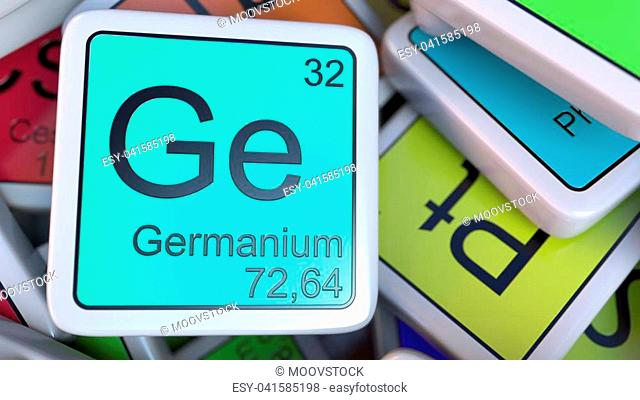 Germanium tag on the pile of periodic table of the chemical elements tags