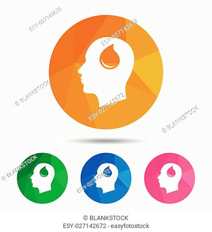 Head with blood drop sign icon. Male human head symbol. Triangular low poly button with flat icon. Vector
