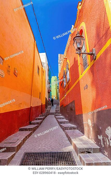 Many Colored Orange Green Yellow Pink Houses Narrow Street Guanajuato Mexico