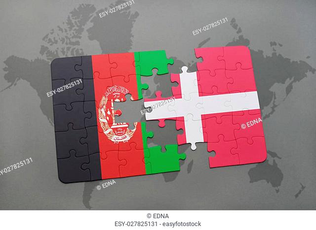 puzzle with the national flag of afghanistan and denmark on a world map background. 3D illustration