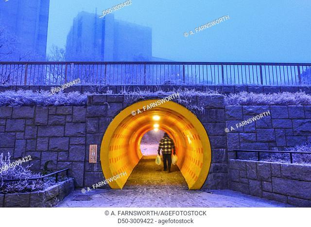 STOCKHOLM, SWEDEN. Colored tunnel in Fruängen suburb