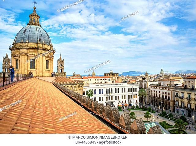 Cityscape from the roof of the Palermo Cathedral, Palermo, Sicily, Italy