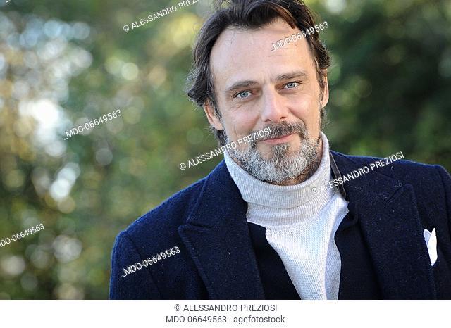 Italian actor Alessandro Preziosi, dressed Fendi, during the photocall of the Mediaset fiction Non Mentire presented at the Casa del Cinema at Villa Borghese