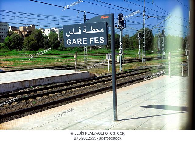 Platform of the train station view from the window of a car in Fez, Morocco, Africa