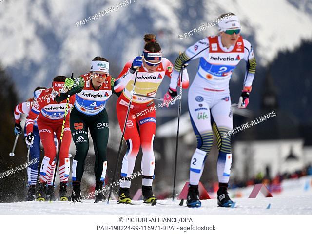 24 February 2019, Austria, Seefeld: Cross Country, World Championship, Team Sprint classic, Women, Final. Maja Dahlqvist (r-l) from Sweden