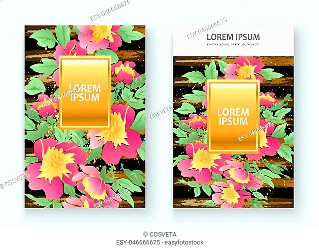 Greeting cards with flower rose wreath leaves with gold lines black geometric trendy background wedding ornament pink floral magazine poster invite