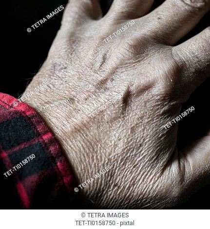 Close-up of senior's hand