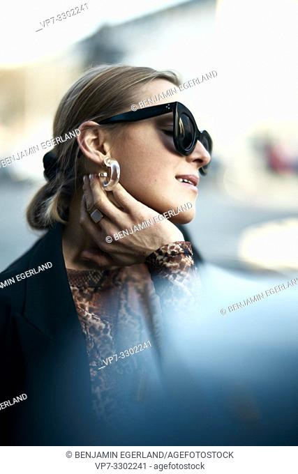 fashionable woman at street, in Munich, Germany