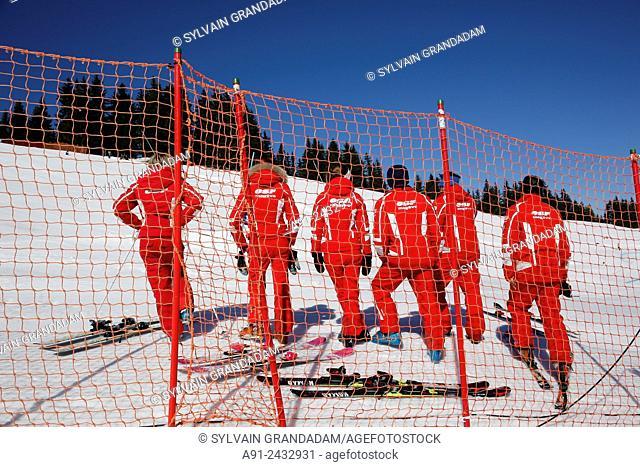 France, Haute-Savoie, Megeve in winter, skiing on the Rochebrune pistes