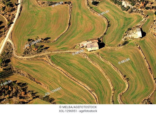Fields and Masia  Vic  Barcelona Province  Catalonia  Spain