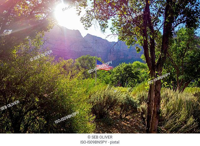 US flag flying at half mast in landscape, Utah, USA