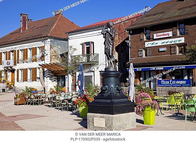Sculpture in the village Saint-Laurent-en-Grandvaux, Jura department in Bourgogne-Franche-Comté, Saint-Claude, France