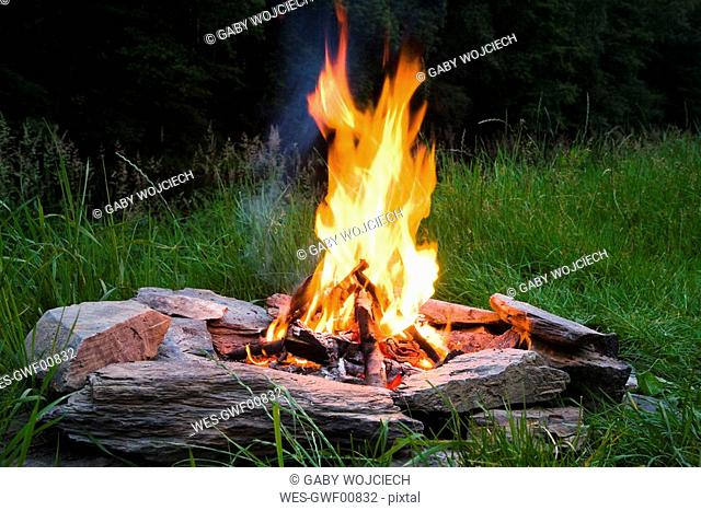 Campfire at twilight