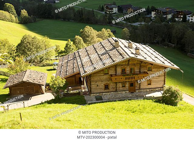 High angle view of traditional houses on hill, Heiligenblut, Carinthia, Austria