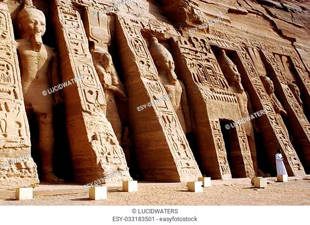ABU SIMBLE - APRIL 29:The Great Temple of Abu Simbel on the border of Egypt and Sudan on April 29 2007.The temples were dismantled and relocated in 1968 200 and...