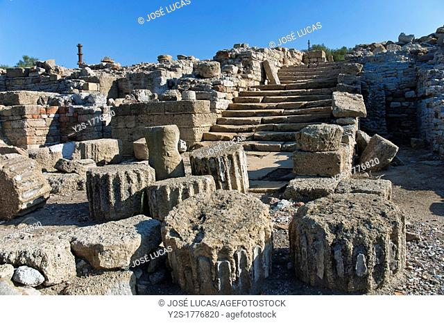 Roman ruins of Carteia, Stairs to the forum, 2nd century BC, San Roque, Cadiz-province, Spain