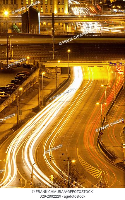 Prague - high angle view of traffic near Main Raiway Station at dusk