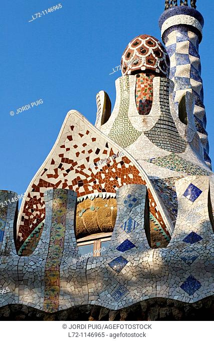 Pavilion in Park Güell by architect Gaudi, Barcelona, Catalonia, Spain