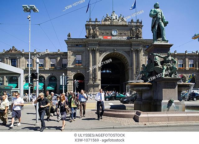 europe, switzerland, zurich, railway station and monument to alfred escher founder of the credit suisse bank