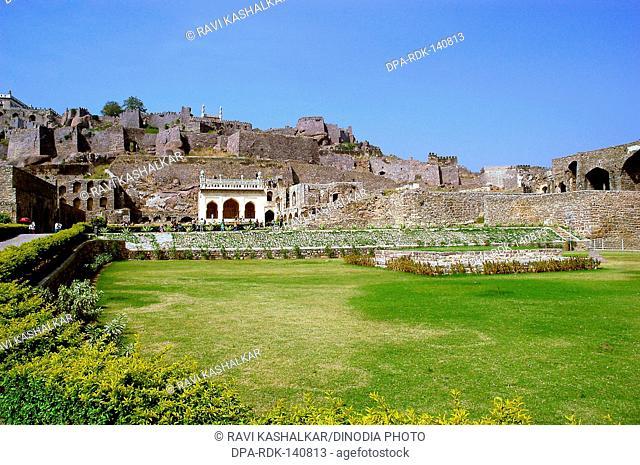 Golconda fort built in 1143 AD ; Hyderabad ; Andhra Pradesh ; India