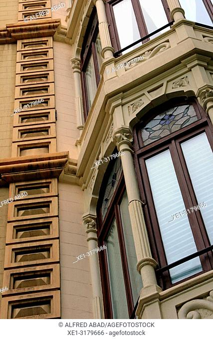 Modernist windows, Eixample district, Barcelona, Catalonia, Spain